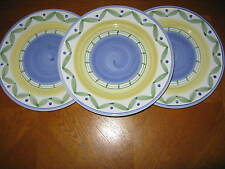 "Set of 3 Williams-Sonoma ""Marisol"" Pattern Dinner Plates Made in Italy"