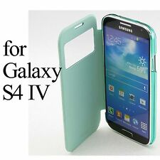 Green Leather S View Flip Case Clear Back Cover For Samsung Galaxy S4 S 4 i9500
