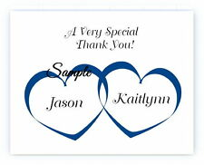 100 Personalized Custom Heart Names Wedding Bridal Thank You Cards