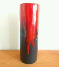 RUSCHA KERAMIK 835 1.5 Cylinder Red Brown Drip Vase German Fat Lava vintage 9.5""