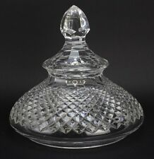 Antique Waterford? Deep Cut Crystal Panel Top Serving Platter Dome Cover NR JWH