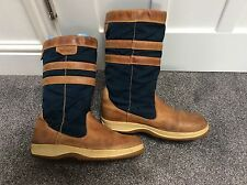 COMPASS BROWN LEATHER/BLUE CANVAS DECK BOOTS SIZE UK 9.5 EURO 44