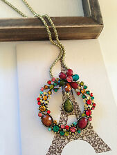 New Bohemian Crystal Resin Colorful vintage round flower pendant necklace chain