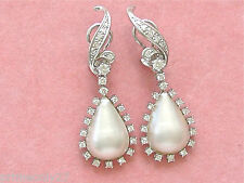 ESTATE 1.50ctw DIAMOND MABE PEARL PEAR DROP WHITE 18K COCKTAIL CLIP EARRINGS