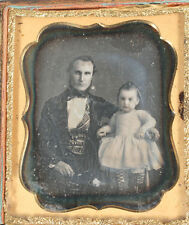 DAGUERREOTYPE FATHER AND YOUNG DAUGHTER. 1/6TH PLATE HALF CASE.