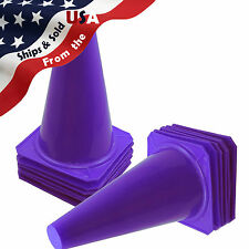 "9"" Tall PURPLE CONES Sports Training Safety Cone Qty 12"