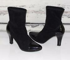 DONALD J PLINER~PATENT LEATHER POINTED CAP TOES~STACKED HEELS~ANKLE BOOTS~8.5