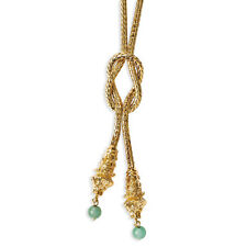 "Jacqueline Kennedy 24K Gold Finish Teal Jade Lioness Knot Necklace 20"" + 3"" Ext"