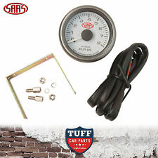 SAAS Tacho Gauge Electric White Face 52mm Multi Colour Tachometer + Fitting Kit