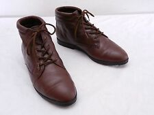 Vintage Womens 7 M DANEXX Brown Leather Granny Laced Ankle Boots Booties