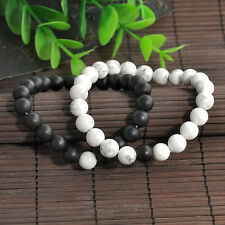 2pcs Couples His & Hers Distance Bracelet Lava Bead Matching YinYang Lovers Gift