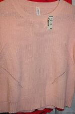 New Aeropostale Women's Girls  PALE PINK Knit Sweater Relaxed Fit Size SP