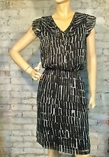 DKNY DONNA KARAN DRESS SMALL CASUAL CAREER SHIFT BLOUSON BLACK BLUE WHITE DKNYC