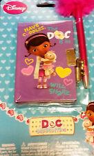 Disney Doc McStuffins Purple Mini Diary with Lock & Keys & Pink Pom Pom Pen New