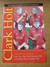 29/02/1996 Swindon Town: The Official Clark Holt Launch Party Programme, 4 Page