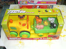 90'S VINTAGE BABY PLASTIC TOY FARM TRACTOR & TRAILER BATTERY OPERATED MIB