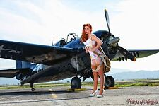 Wings of Angels Malak Giclee II Pin Up Kacie in Parachute WWII F4F Wildcat