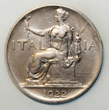 Italy 1 Lire 1922 Almost Uncirculated Coin