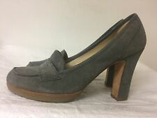 Talbots Gray Suede Loafer Heels Women shoes  Size 9.5M