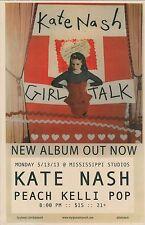 KATE NASH 2013 Gig POSTER Portland Oregon Girl Talk Concert