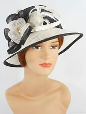 New Woman Church Derby Wedding Party Sinamay Dress Hat 7045 Black & Ivory