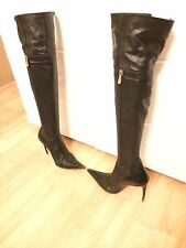MADE IN ITALY OVERKNEE VERO CUOIO STILETTO HIGH HEEL STIEFEL 38