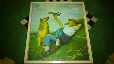 1940 1950 MAGNIFIQUE LITHO ART DECO USA L ENFANT L AVION ET LE CHIEN (SIGNER)