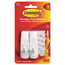 Command Removable Adhesive Utility Hooks, 3-lb Capacity, White, Set of 2
