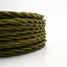 Olive Green Cotton Cloth Covered Twisted Wire - Lamp Cord  Antique Fan Wire