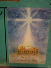 """Small House Garden Flag 12.5"""" x 18"""" FOR UNTO US A CHILD IS BORN Christmas Winter"""
