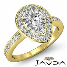 Halo Pre-Set Pear Diamond Engagement Ring GIA F Color VS1 18k Yellow Gold 2.5ct