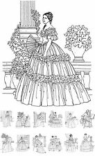 "Adult Coloring Cards [24 cards 4""x6""] Vintage Fashion Victorian FLONZ 040 Book"