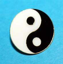 "CHINESE Oriental Feng Shui Lucky Charm YIN YANG ENAMELED LAPEL HAT PIN 1"" New"