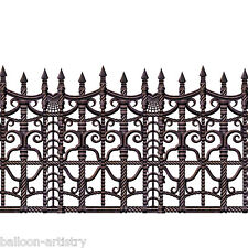 2ft x 30ft Creepy Fence Halloween Horror Scene Setter Border Party Decoration
