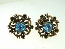 VINTAGE GORGEOUS SIGNED CORA BLUE RHINESTONE ORNATE EARRINGS