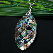 Natural Horse Eye Shape Abalone Mother Of Pearl MOP Shell Bead Pendant Gift