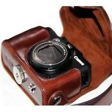 Ever Ready Camera PU Leather Bag Case Cover For Canon POWERSHOT G15 G16 Brown
