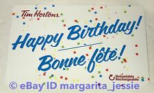 Tim Hortons 2017 Happy Birthday Bonne fete! Gift Card NO VALUE NEW FD55504