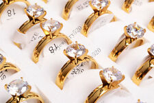 Wholesale Lots 5pcs Fine Jewelry Cubic Zircon Real Gold Stainless Steel Rings