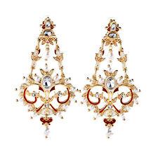 Boucles d`Oreilles Doré Gros Chandelier Filigrane Email Rouge Mini Perle Fin X13
