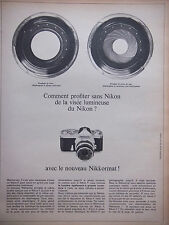PUBLICITÉ DE PRESSE 1966 APPARIEL PHOTO NIKON AVEC NIKKORMAT - ADVERTISING