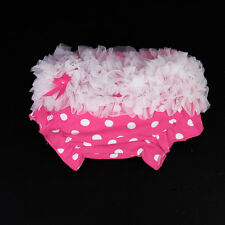 Hot Pink 0-2Y Baby Toddler Dotted Cotton Bloomers Ruffle Panties Nappy Cover