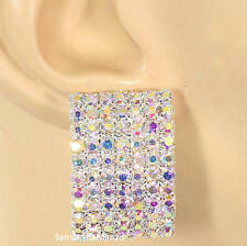 "1"" Pave Set Rainbow Aurora Borealis Crystal Rhinestone Cz Cluster Stud Earrings"