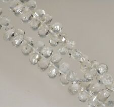 9X6MM  ROCK CRYSTAL GEMSTONE GRADE AA FACETED BRIOLETTE TEARDROP LOOSE BEADS 7""