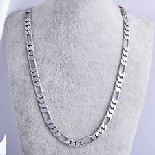 """Classy hip hop jewelry Mens white Gold Plated figaro link chain Necklace 19."""""""