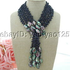 "H080801 50"" 3 Strands Black Pearl Abalone Shell Necklace"