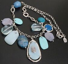 Silpada Sterling Silver Blue Green Agate Howlite Quartz Seaside Necklace N2321