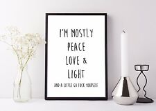 Inspirational Quote Poster Art Print A4 Typography Decor gift wall decor peace