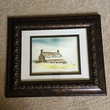 "Framed Barn Water Color Painting Artist M. Johnson 1989 16"" X 19"""