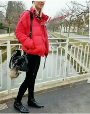 ZARA NEW RED PUFFER ANORAK WITH SILVER ZIPS SIZE L